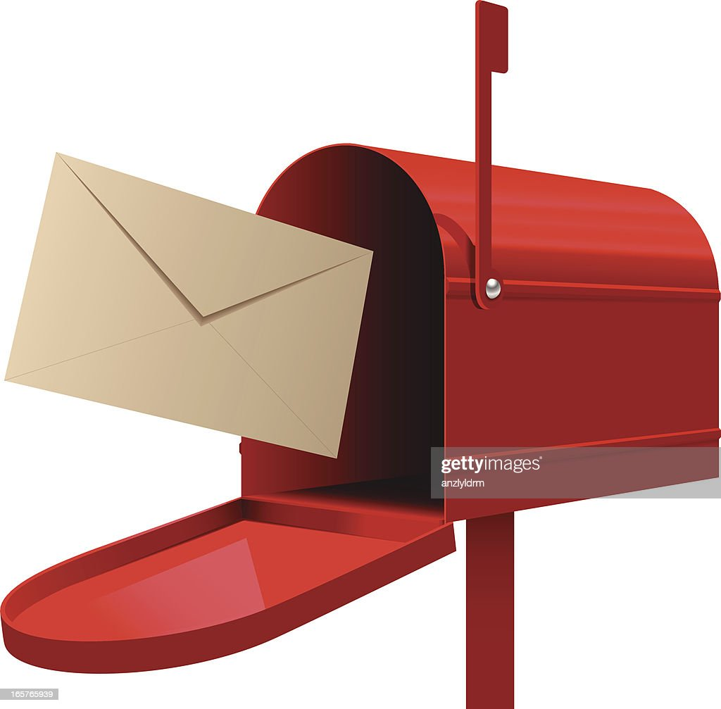 red mailbox with beige envelope ready to be mailed vector art rh gettyimages com Sant Mailbox Clip Art Sant Mailbox Clip Art