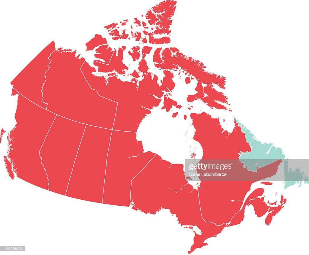 Map Of Canada Newfoundland.Red Map Of Canada With Newfoundland Isolated In Blue Stock