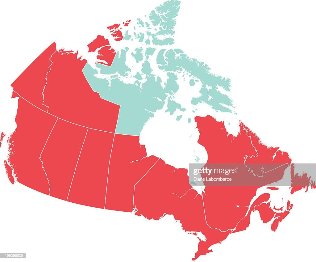 Map Of Canada Nunavut.Red Map Of Canada With Nunavut Isolated In Blue Stock Illustration