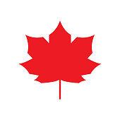 Red Maple Leaf icon Canada symbol Autumn leaves. Vector silhouette