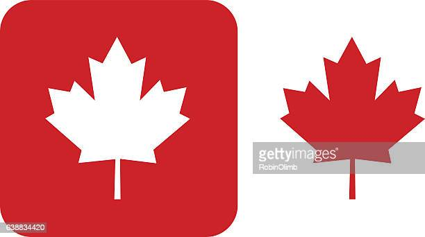 red maple leaf icons - canadian culture stock illustrations