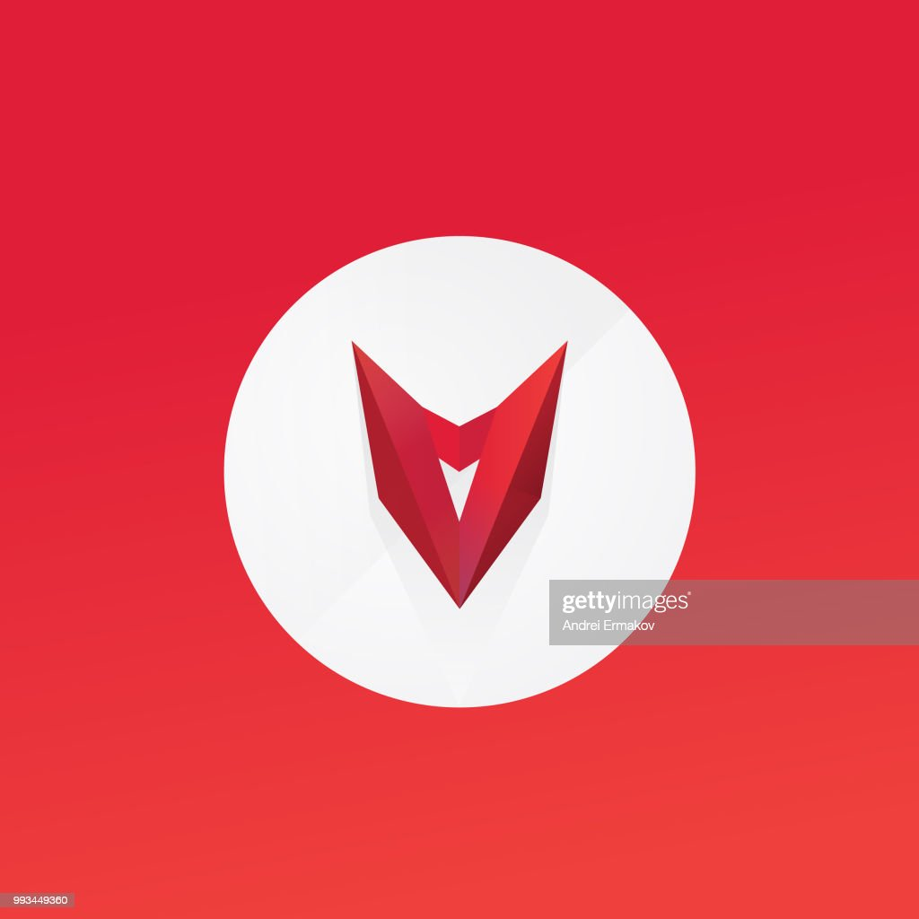 Red mask, head. Vector flat logo. Sign isolated on white background. Corporate identity. Emblem. Symbol. Letter A and V. Stylized object. Daemon. Bull.