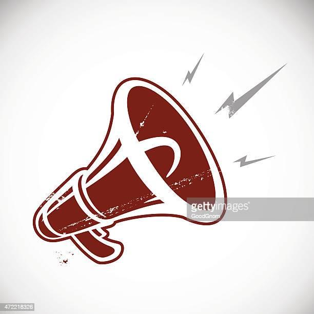 red megaphone - megaphone stock illustrations