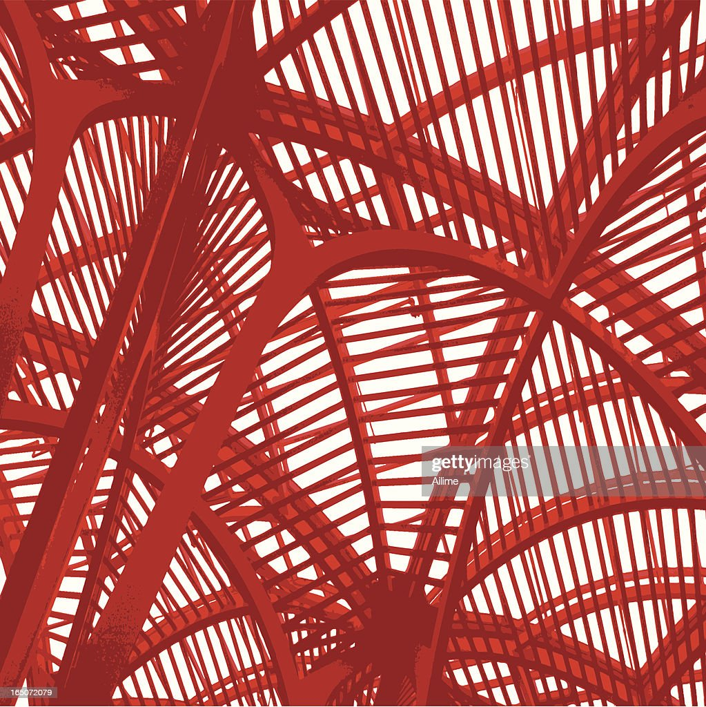 Red metallic architectural structure