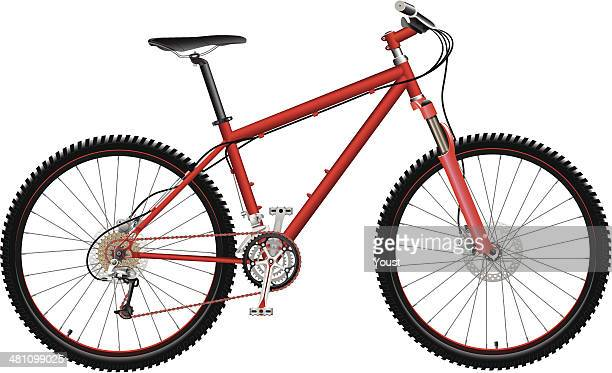 red mountain bike - derailleur gear stock illustrations, clip art, cartoons, & icons