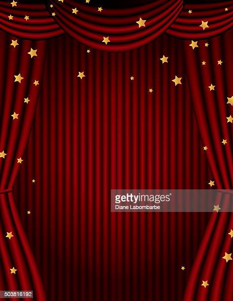 Red Movie Theatre Curtain With Gold Stars