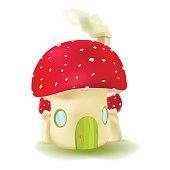 Red Mushroom House Cute Design Vector