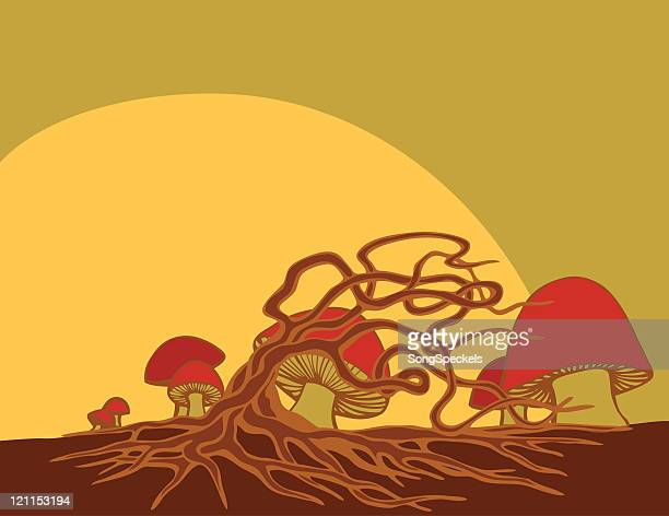red mushrooms landscape with sun - recreational drug stock illustrations, clip art, cartoons, & icons