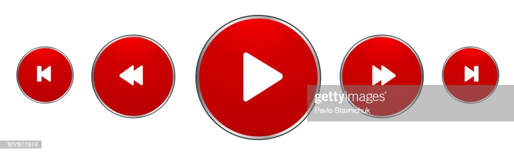 Red Music Player Buttons – stock vector