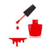 Red nail polish, open bottle. Vector illustration
