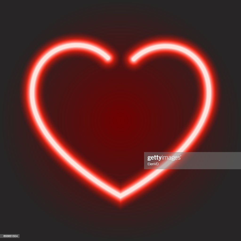 Red Neon Glowing Heart Symbol Of Love On Dark Background Of Vector
