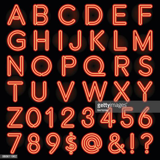 red neon style lettering alphabet set - text schriftsymbol stock-grafiken, -clipart, -cartoons und -symbole