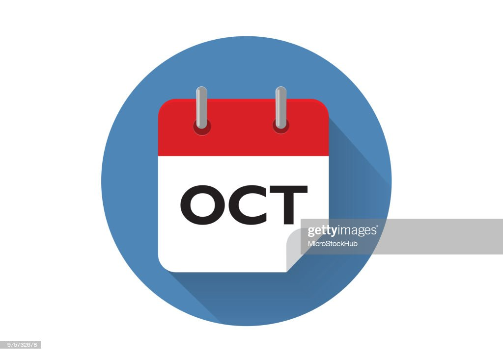 Red October Calendar Icon In Vector Format