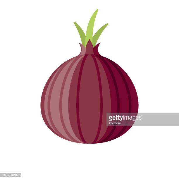 red onion flat design vegetable icon - onion stock illustrations, clip art, cartoons, & icons