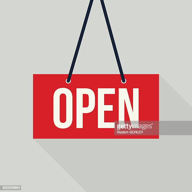 red open sign - open sign stock illustrations, clip art, cartoons, & icons