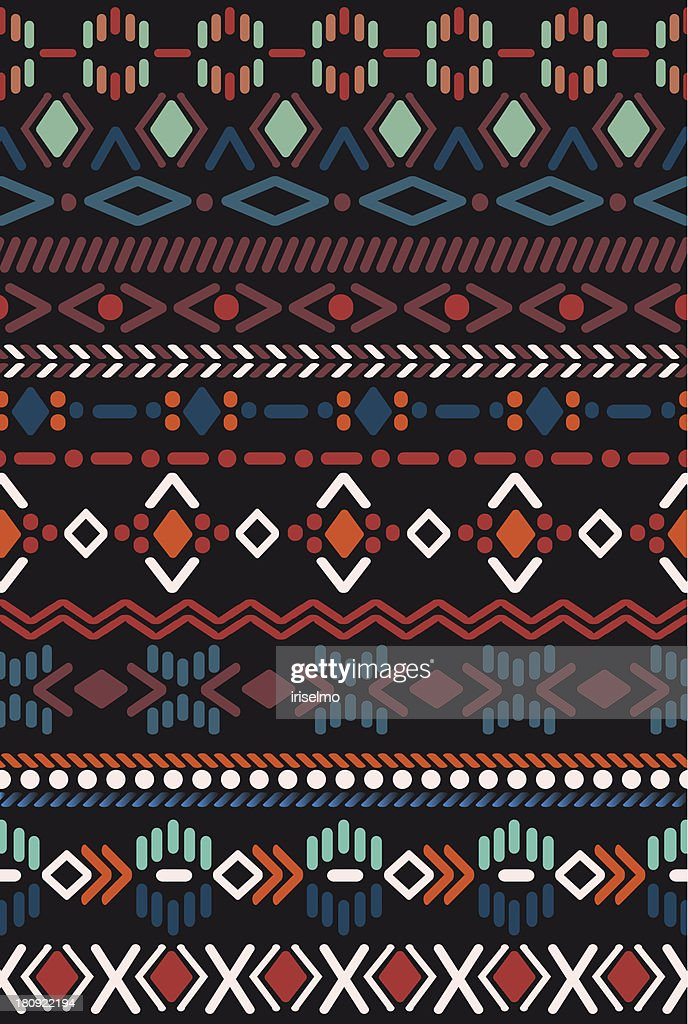 Red, orange, teal, purple and black pattern in Aztec style