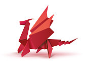 Red origami dragon