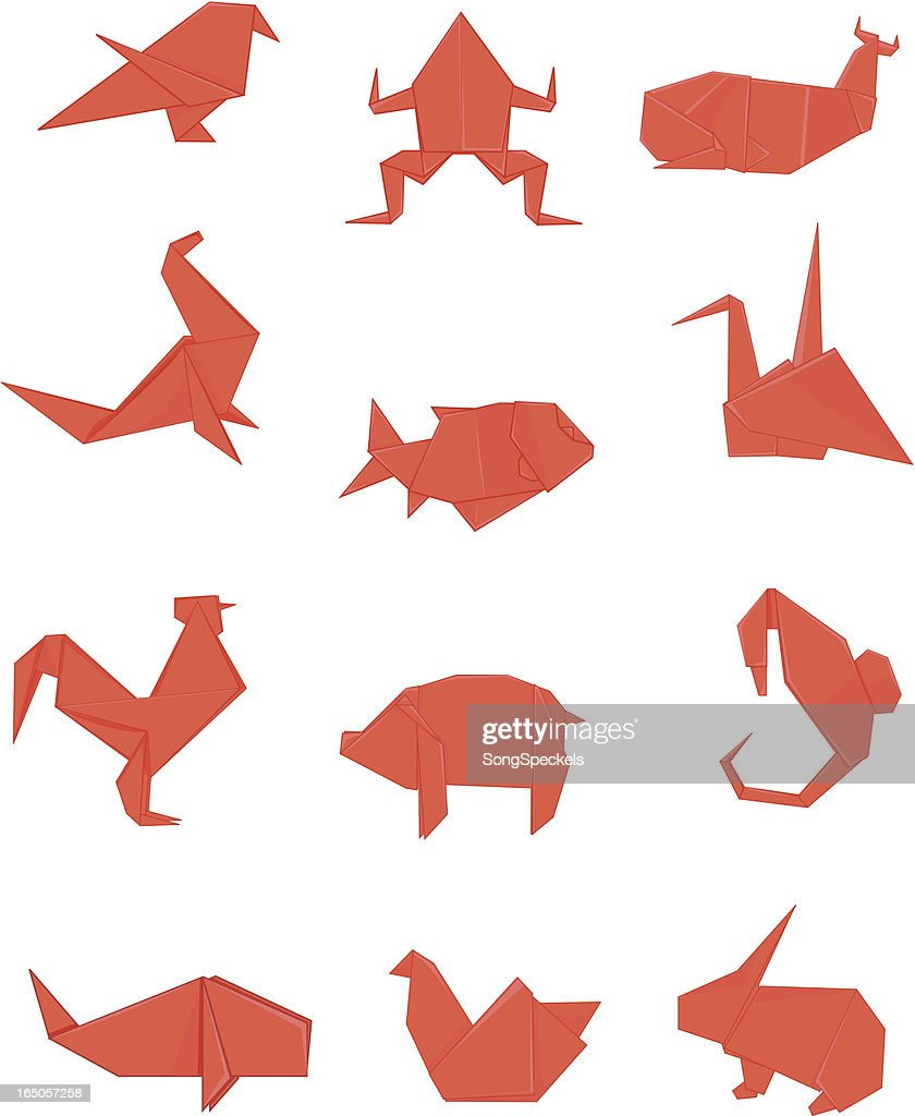 Red Origami Set Vector Art Getty Images