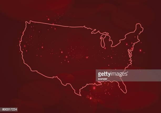 USA der roten Umriß auf dunklem Hintergrund
