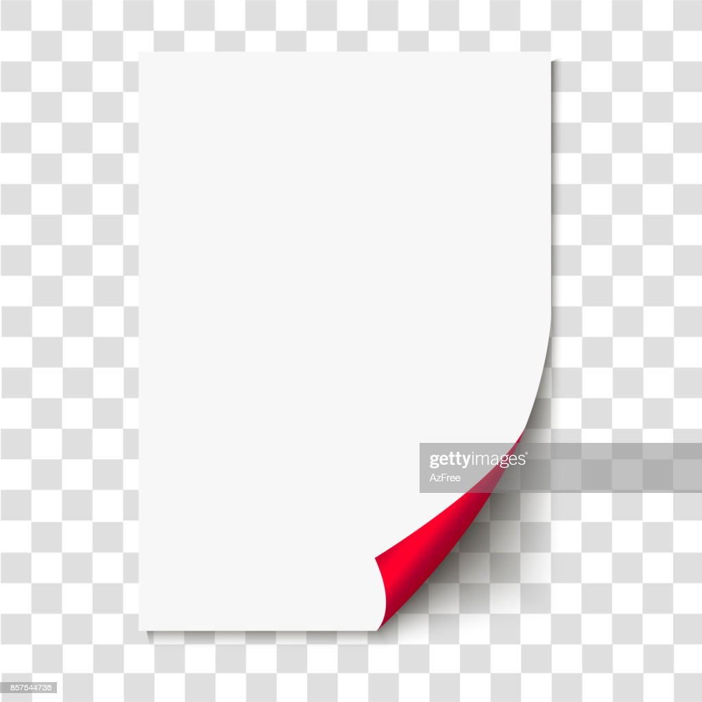 Red page curl on empty sheet paper with shadow. Realistic blank folded page on transparent background. Vector illustration.