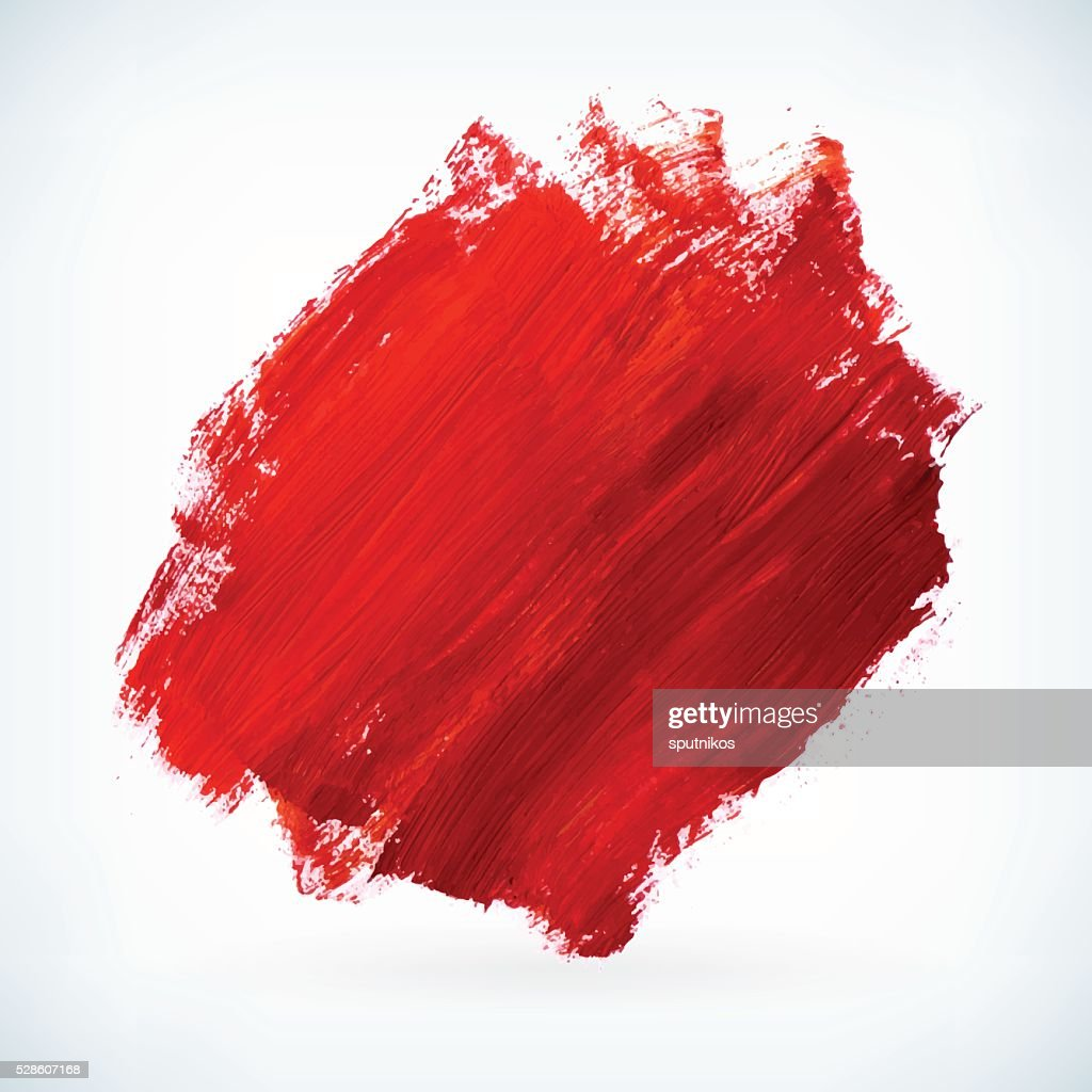 Red paint artistic dry brush stroke vector background