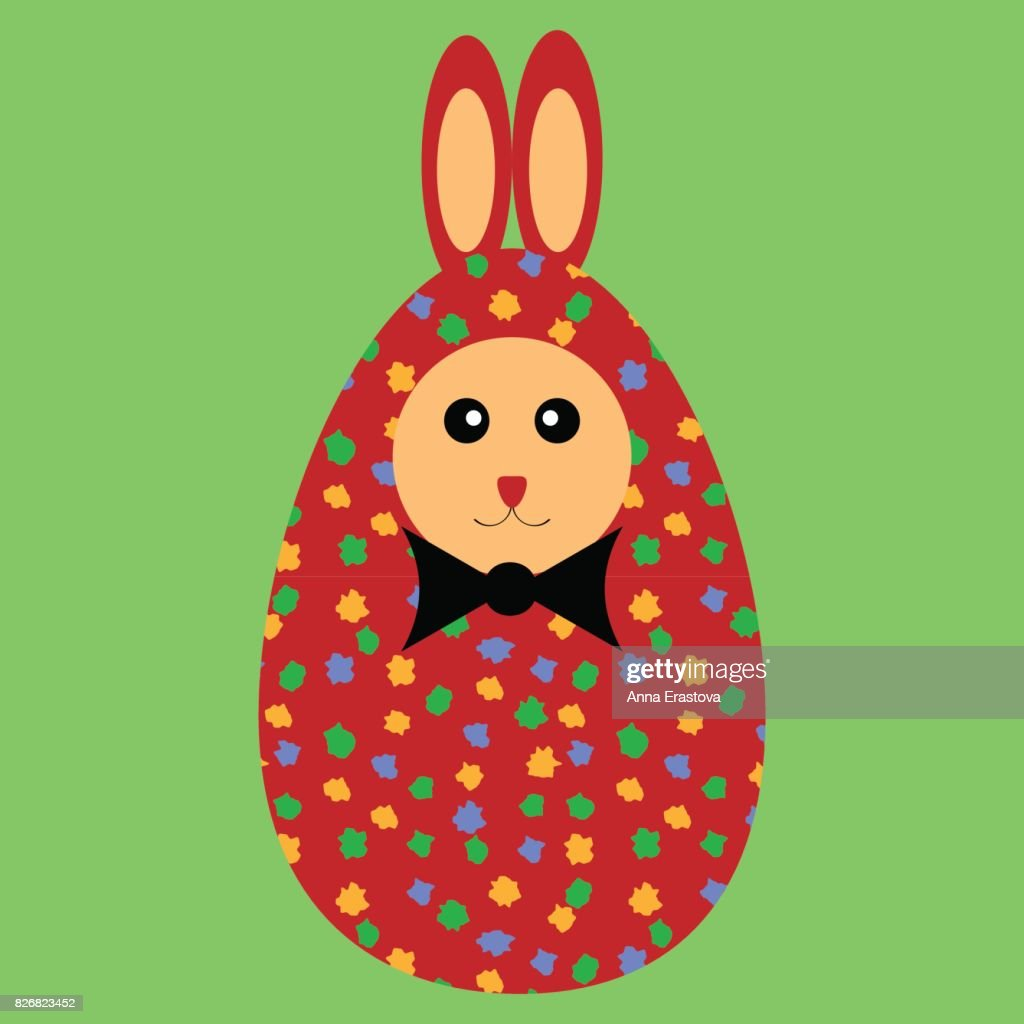 Red painted Easter bunny egg with bowtie.