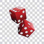 Red pair of casino dice transparent background vector illustration