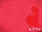 Red paper heart Valentines day card
