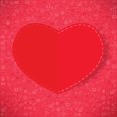 Red paper heart Valentines day