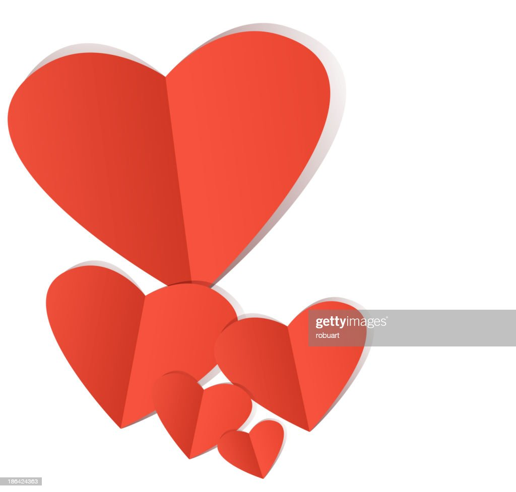 Red paper heart Valentins day