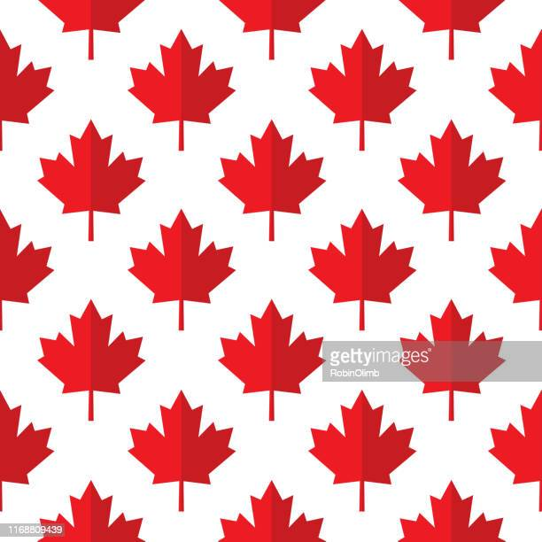 red paper maple leaves seamless pattern - maple leaf stock illustrations
