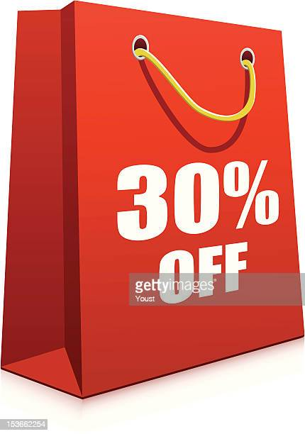 red paper shopping bag - goodie bag stock illustrations, clip art, cartoons, & icons