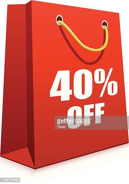 赤い紙のショッピングバッグ - 数字の40点のイラスト素材/クリップアート素材/マンガ素材/アイコン素材