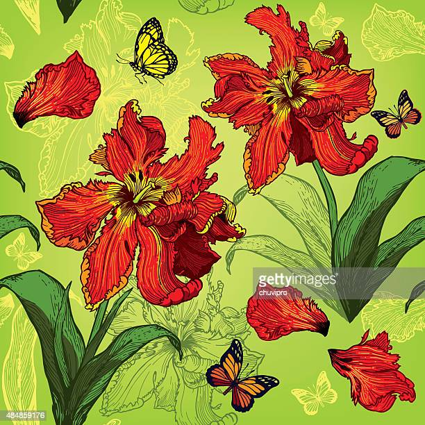 レッドのパロットのチューリップ花の背景にシームレス