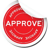 Red peel off approve sticker on white background