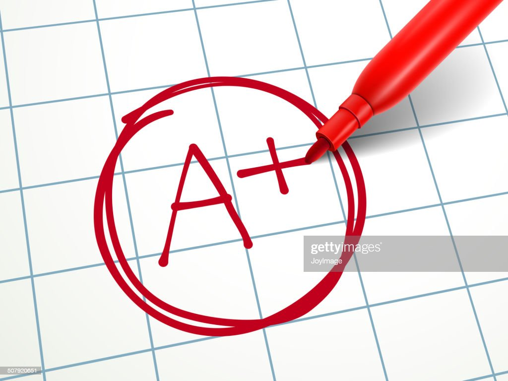 red pen writing A plus on paper