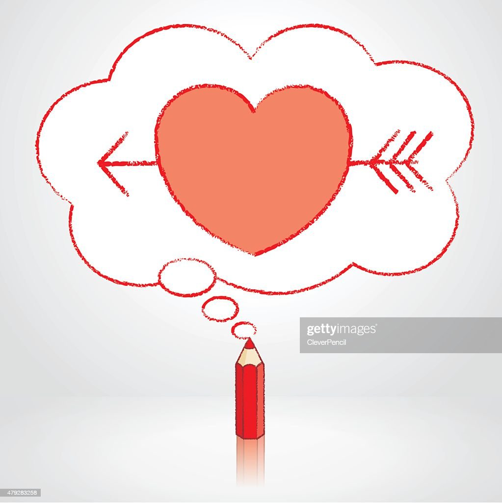 red pencil drawing arrow through heart in thought cloud bubble