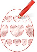 Red Pencil Shading Easter Egg with Hearts