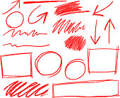 Red Pencil stroke set