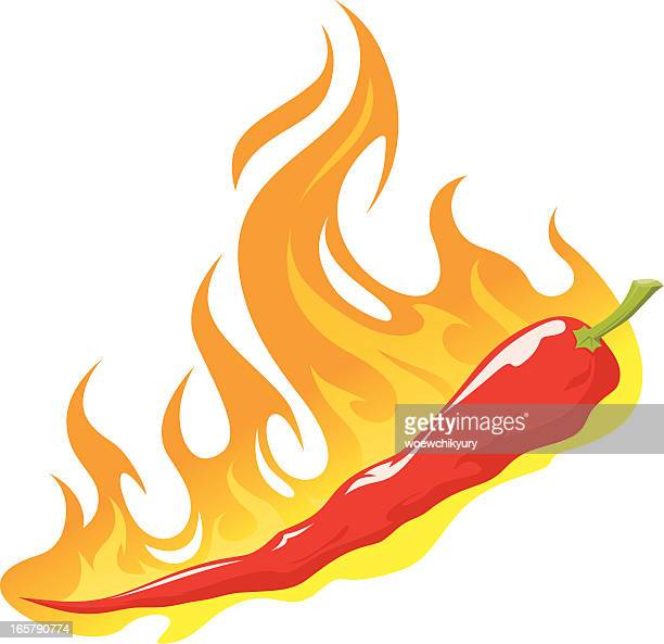 red peper in flame