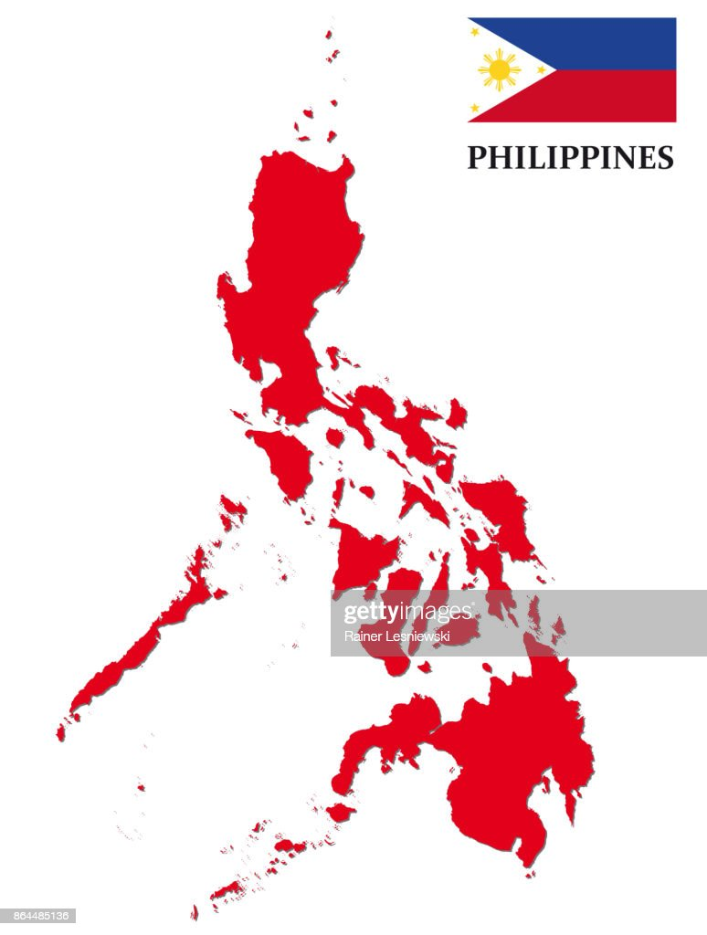 red philippines map with Flag