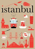 Red pictograms set with Istanbul theme