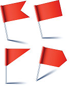 Red pin flags.