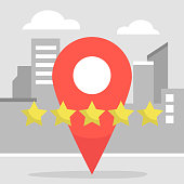 Red pin sign. Geo location. Rating. Five stars. Urban services. Flat editable vector illustration, clip art