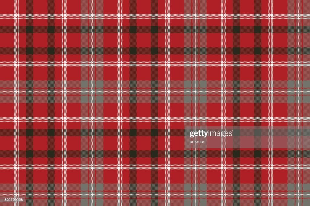 Red pixel plaid seamless pattern