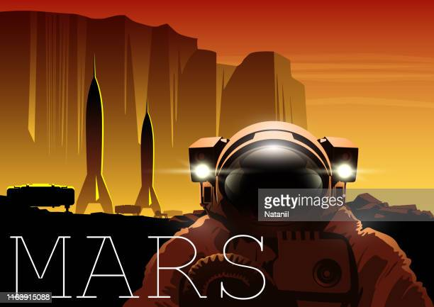 red plannet space poster - space suit stock illustrations