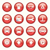 Red Plastic Car Buttons