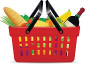 Red plastic shopping basket with groceries