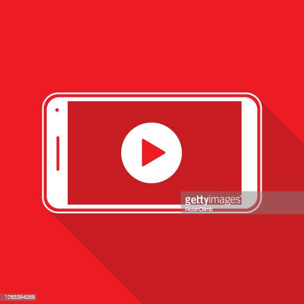 red play button smart phone icon - live broadcast stock illustrations