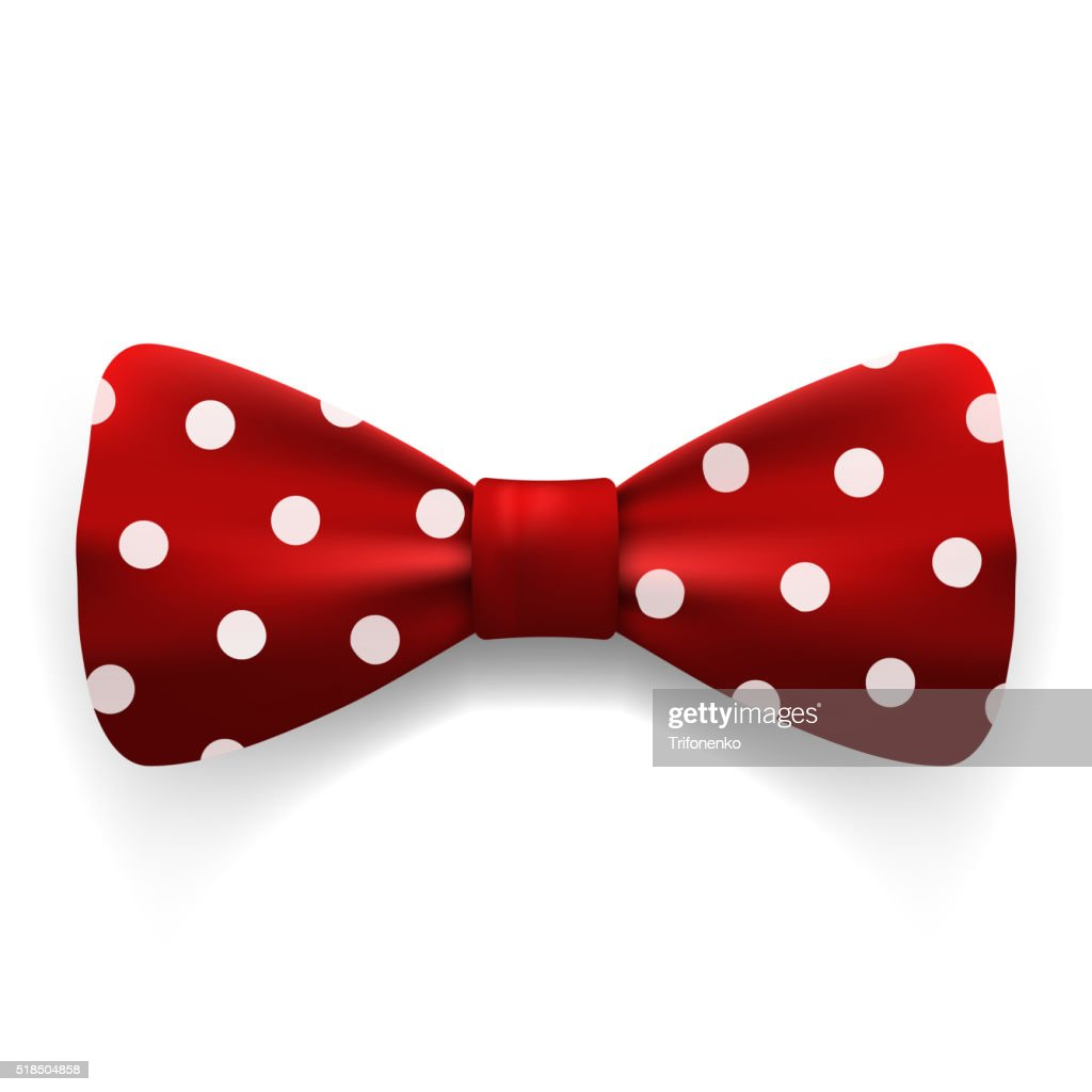 Red polka dot bow tie isolated on white background.